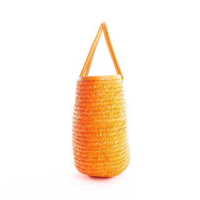 Taška - slamená letná na rameno, oranžová