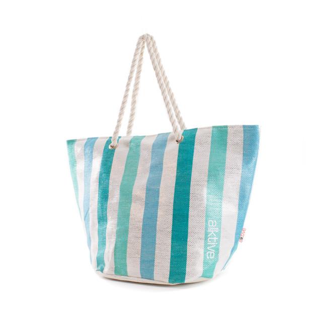 Taška - pruhovaná lesklá plážová, modrá