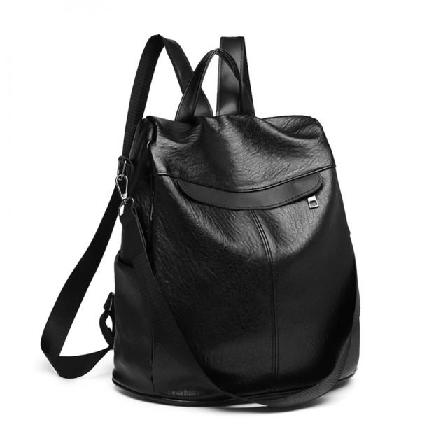 Batoh - eko kožený na rameno dámsky, čierny