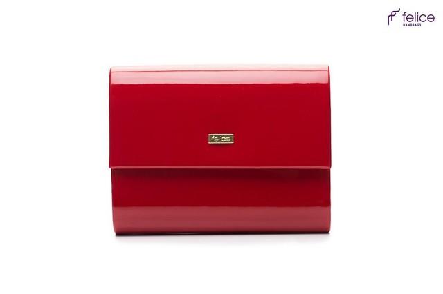 Kabelka - elegantná Felice spoločenská lesklá, červená