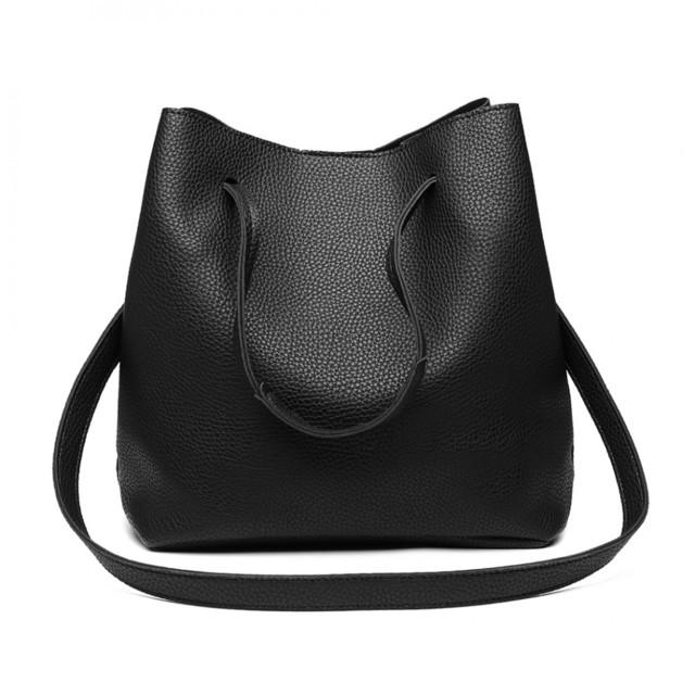 Set kabeliek - eko kožený s peňaženkou, čierny