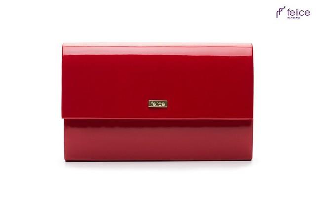 Kabelka - Felice lesklá spoločenská, červená