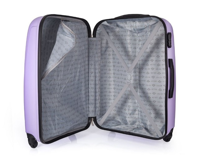 Set kufrov - pastelový matný cestovný Solier set, fialový
