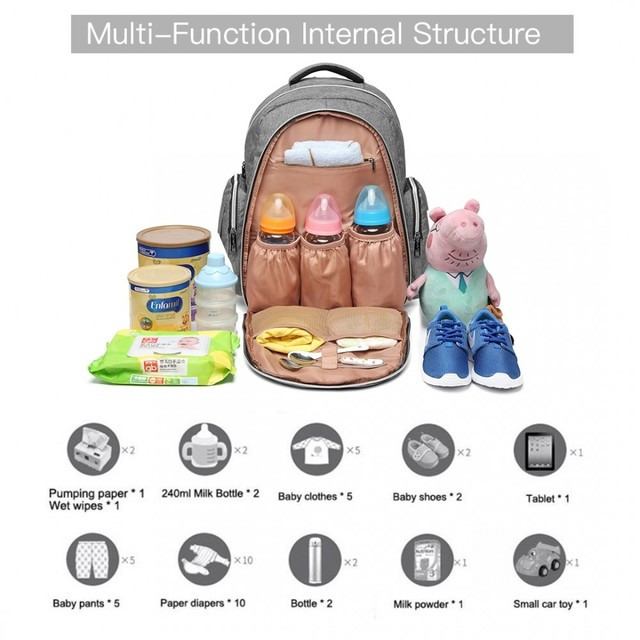 Ruksak - multifunkčný veľký dojčenský pre maminky, sivý
