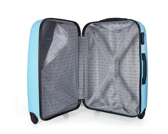 Set kufrov - pastelový matný cestovný Solier set, modrý