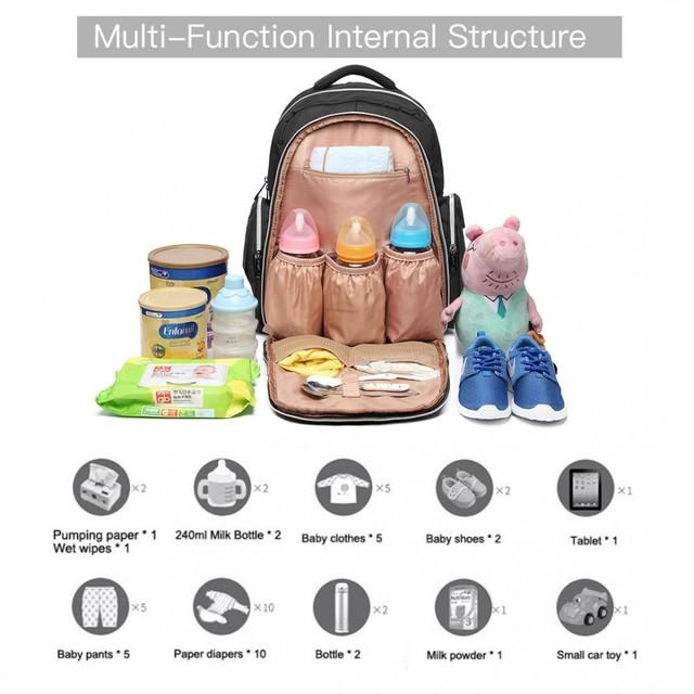 Ruksak - multifunkčný veľký dojčenský pre maminky, čierny