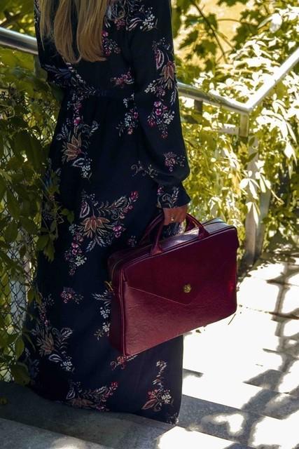Taška - Positano kožená dámska do práce, burgundy