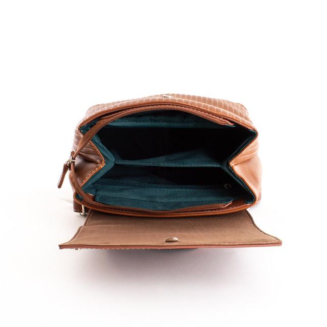 Batoh - vzorovaný z eko kože DJ dámsky, hnedý