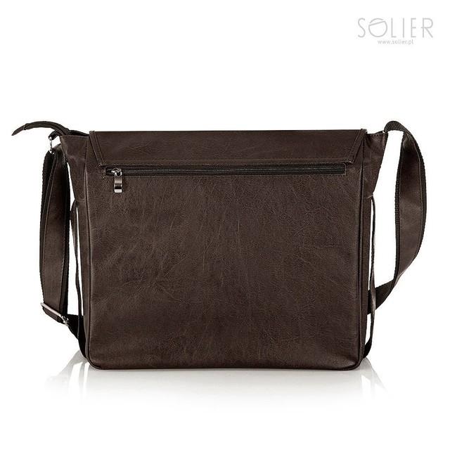 Taška - laptop pánska Solier z eko kože, tmavohnedá