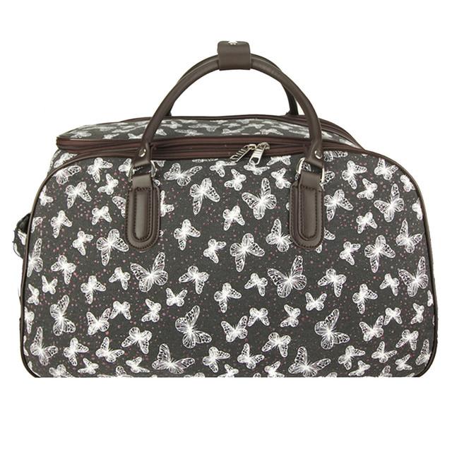 Cestovná taška - látková motýľová na kolieskach, čierna
