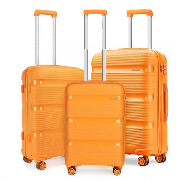 Set kufrov - KONO pastelový praktický na cesty, oranžový