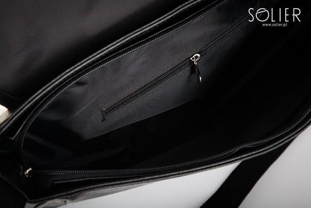Taška - laptop pánska Solier z eko kože, čierna