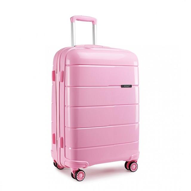 Kufor - cestovný KONO unisex PP lesklý veľký, ružový