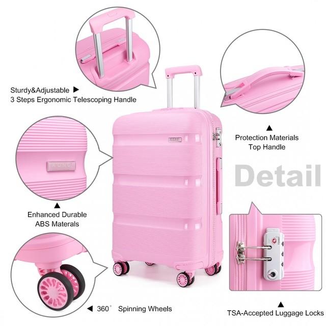 Set kufrov - KONO pastelový praktický na cesty, ružový