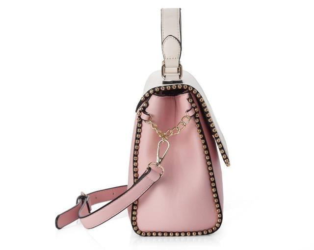 Kabelka - crossbody s guľôčkovým lemom Felice, ružová/biela