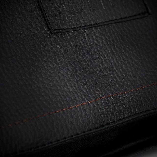 Taška - pánska na rameno Solier z eko kože, čierna