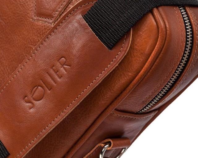 Taška - pánska Solier kožená do práce, vintage hnedá