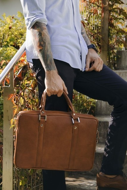 Taška - Solier kožená pánska do práce, vintage hnedá