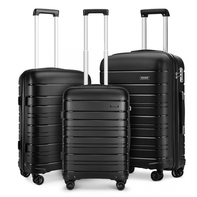 Set kufrov - na cesty praktický KONO unisex, čierny