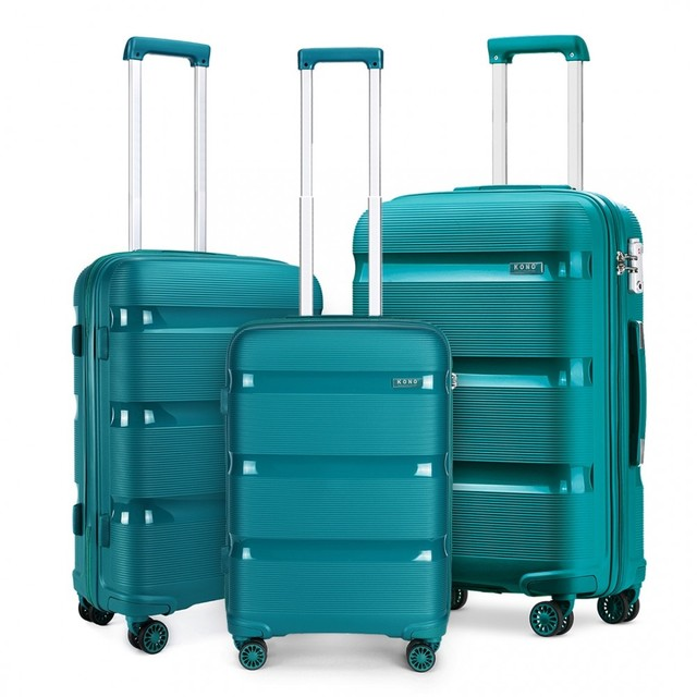 Set kufrov - KONO pastelový praktický na cesty, tyrkysový