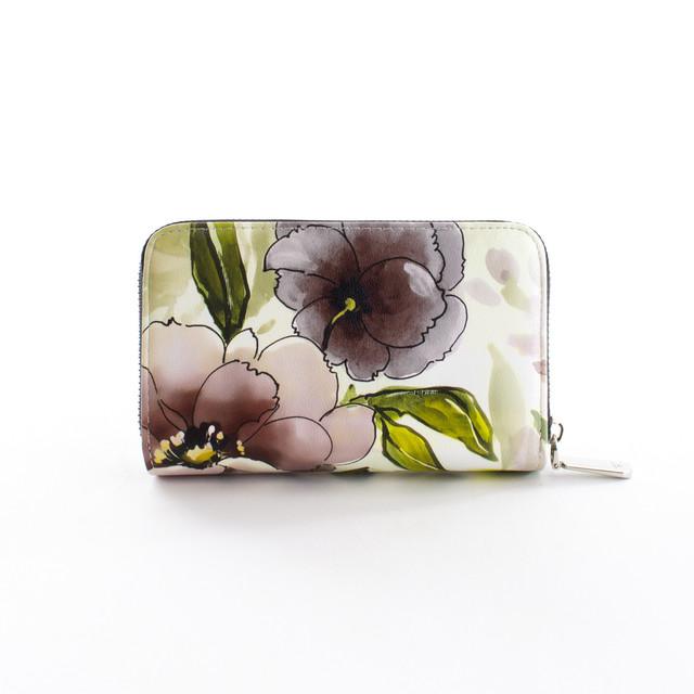 Peňaženka - kvetinová stredná Diana, čierna