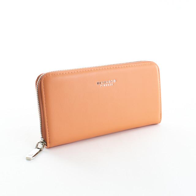 Peňaženka - hladká zipsová z eko kože Diana, broskyňová