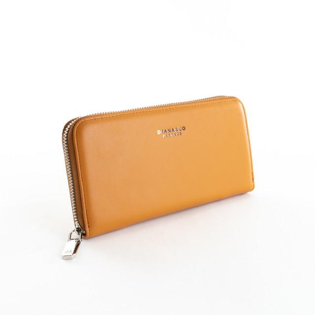 Peňaženka - hladká zipsová z eko kože Diana, hnedá