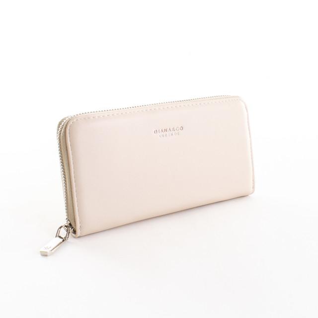 Peňaženka - hladká zipsová z eko kože Diana, béžová