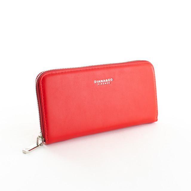 Peňaženka - hladká zipsová z eko kože Diana, červená