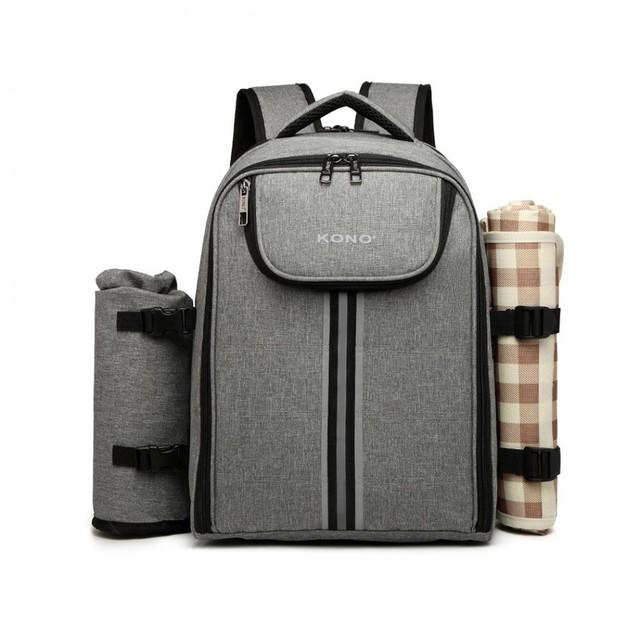 Ruksak - piknik s podložkou a doplnkami, šedý
