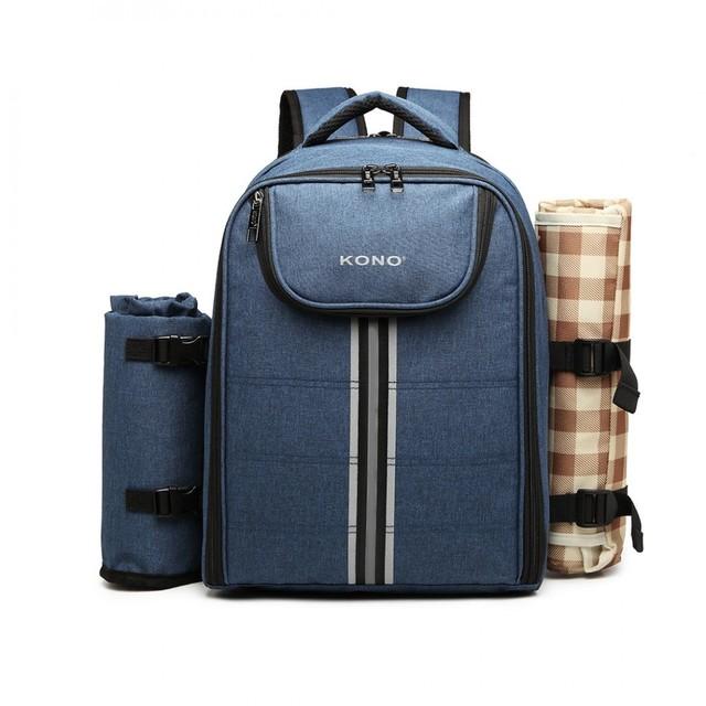 Ruksak - piknik s podložkou a doplnkami, modrý