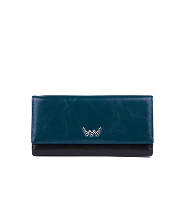 Peňaženka - Lauren kožená, čierna/modrá