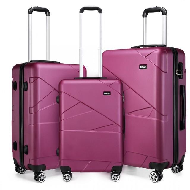 Set kufrov - matný purpurový