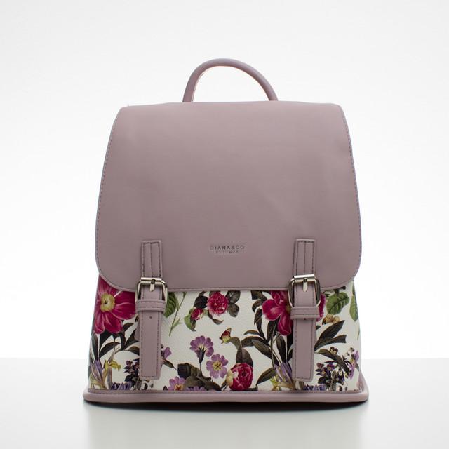 Batoh - kvetinový s prackami, fialový