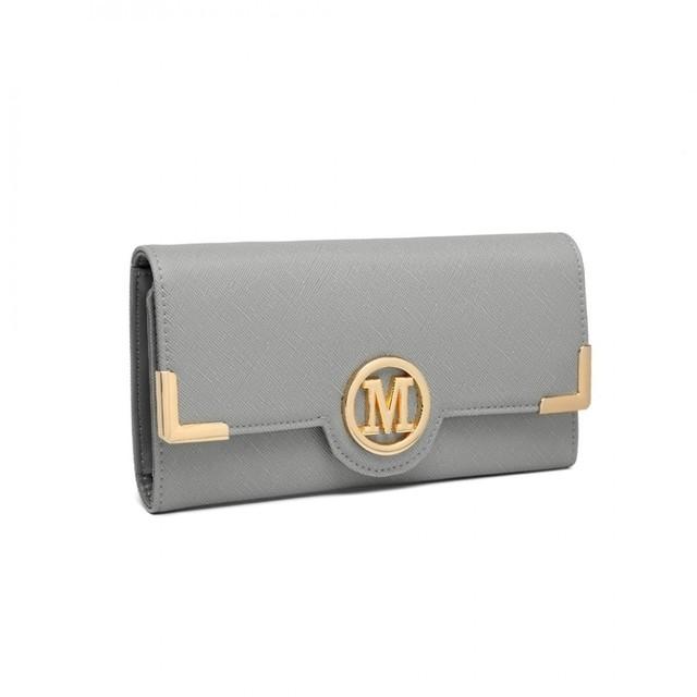 Peňaženka - koženková s logom sivá