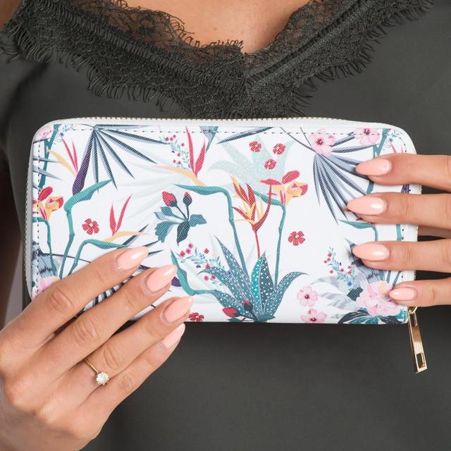 Peňaženka - kvetinová biela