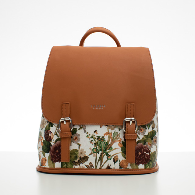 Batoh - kvetinový s prackami, hnedý