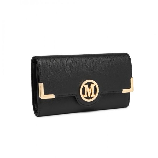 Peňaženka - koženková s logom, čierna