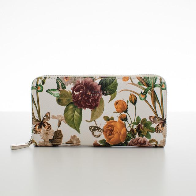 Peňaženka - letné kvety, béžová