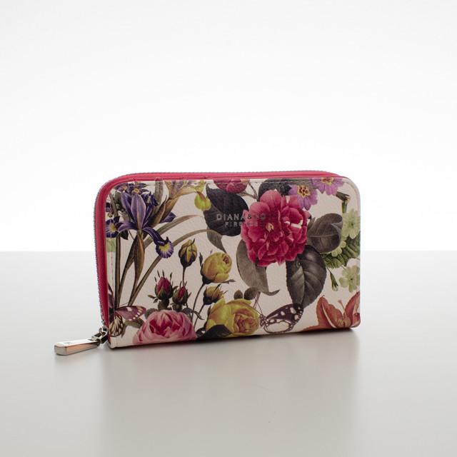 Peňaženka - stredná kvetinová Diana, fuchsia