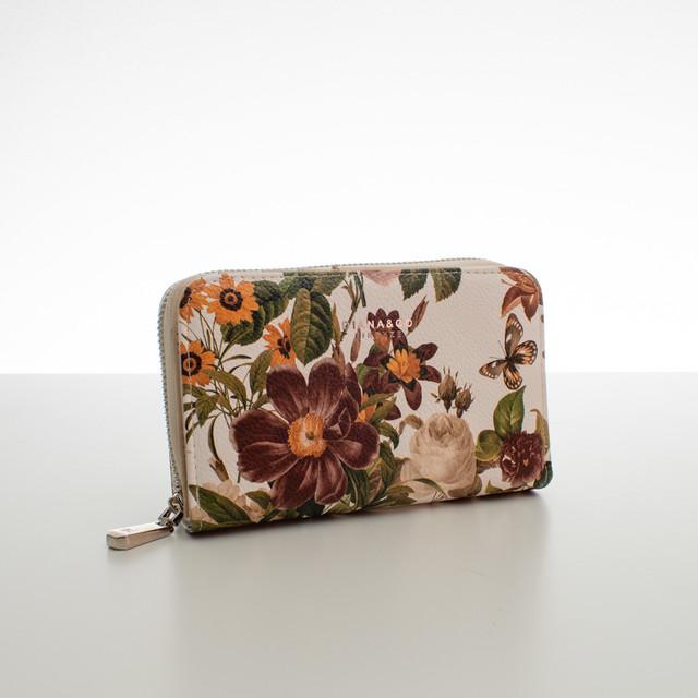 Peňaženka - stredná kvetinová Diana, béžová