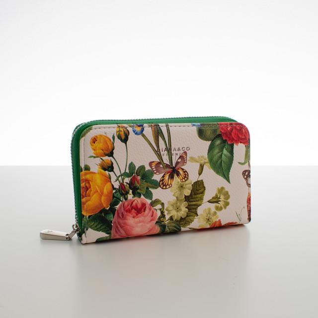 Peňaženka - stredná kvetinová Diana, zelená