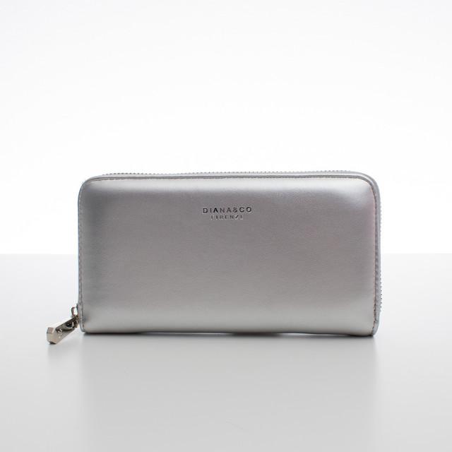 Peňaženka - koženková hladká Diana, strieborná