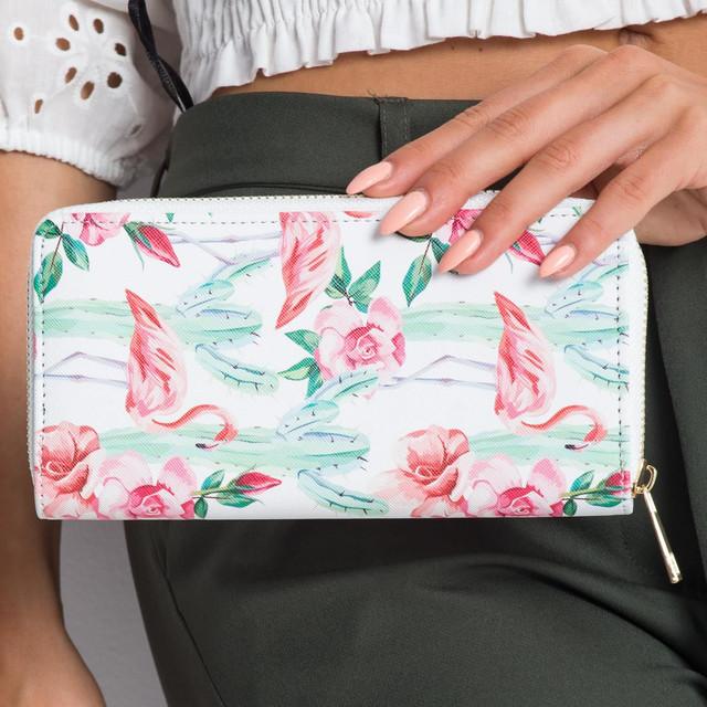 Peňaženka - flamingo s kvetmi, biela