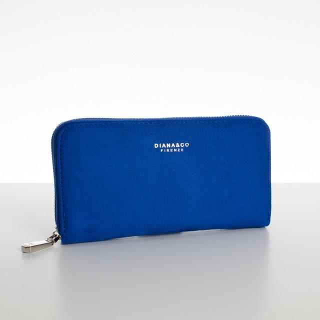 Peňaženka - veľká semišová Diana, modrá