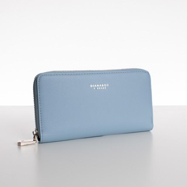 Peňaženka - zipsová, koženková Diana, bledomodrá