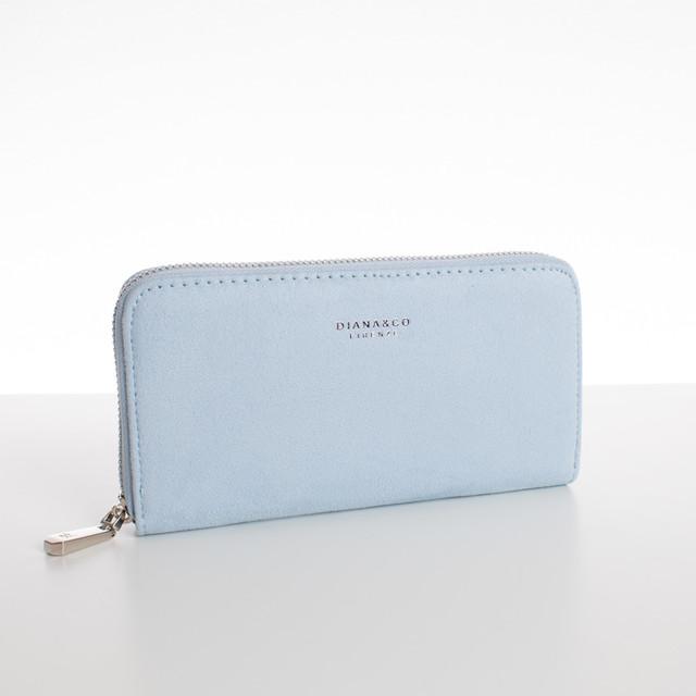 Peňaženka - veľká semišová Diana, bledomodrá