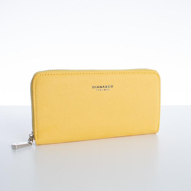 Peňaženka - veľká semišová Diana, žltá