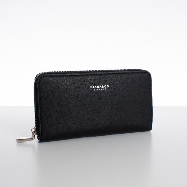 Peňaženka - zipsová, koženková Diana, čierna