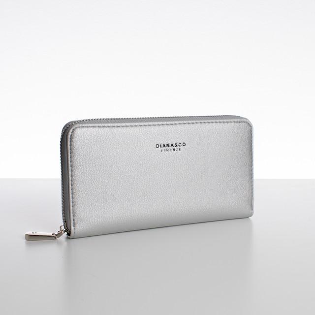 Peňaženka - zipsová, koženková Diana, strieborná